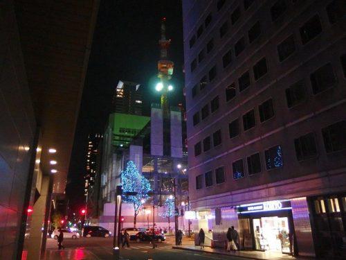 大阪の御堂筋を横から見たところ